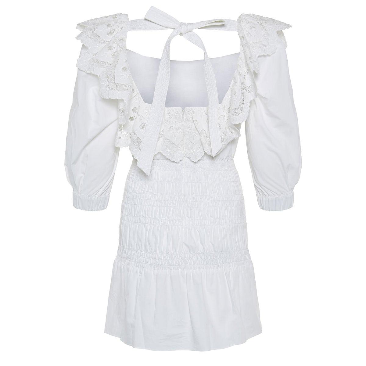 Lace-paneled smocked poplin mini dress