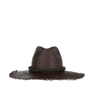 Straw hat with leather ribbon