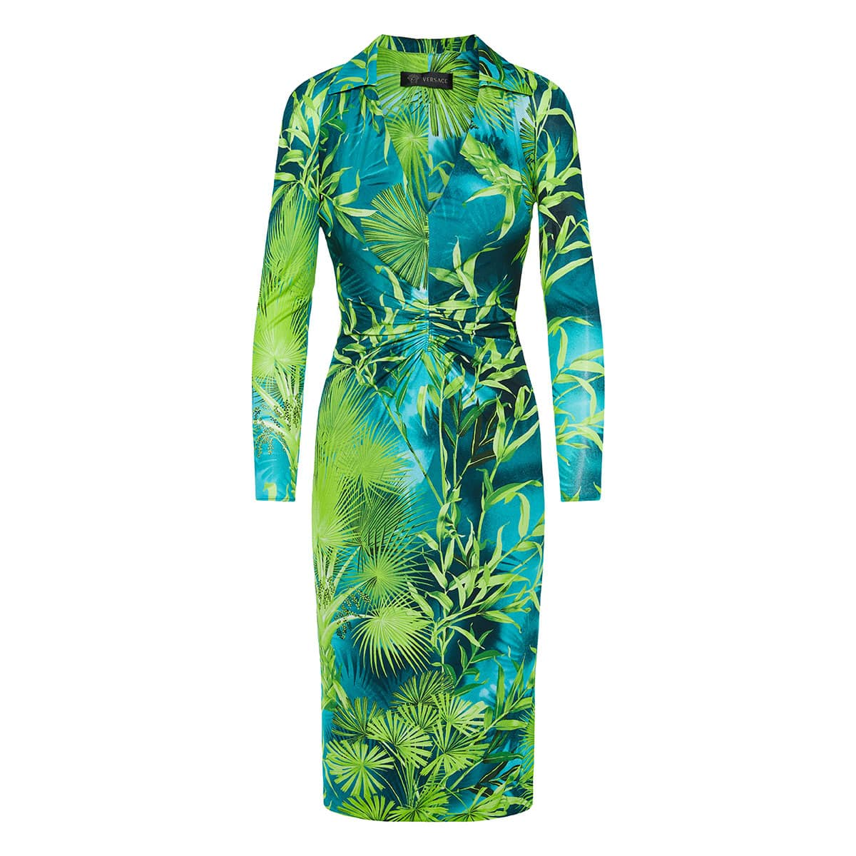 Jungle print ruched midi dress