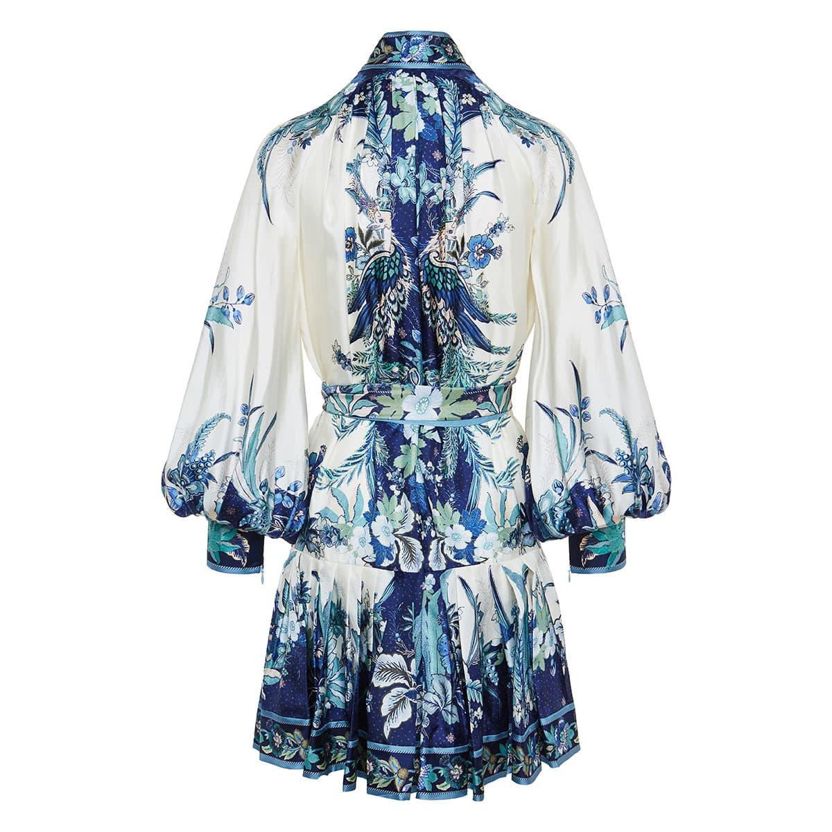 Glassy printed silk mini dress