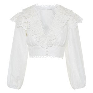 Bellitude broderie ruffled cropped top
