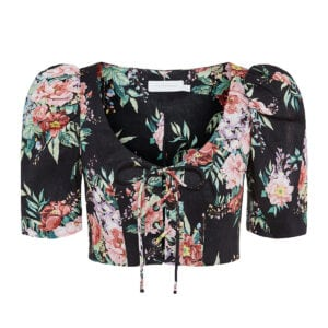 Bellitude puff-sleeved floral cropped top