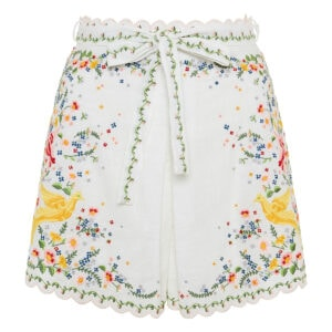 High-waist embroidered shorts