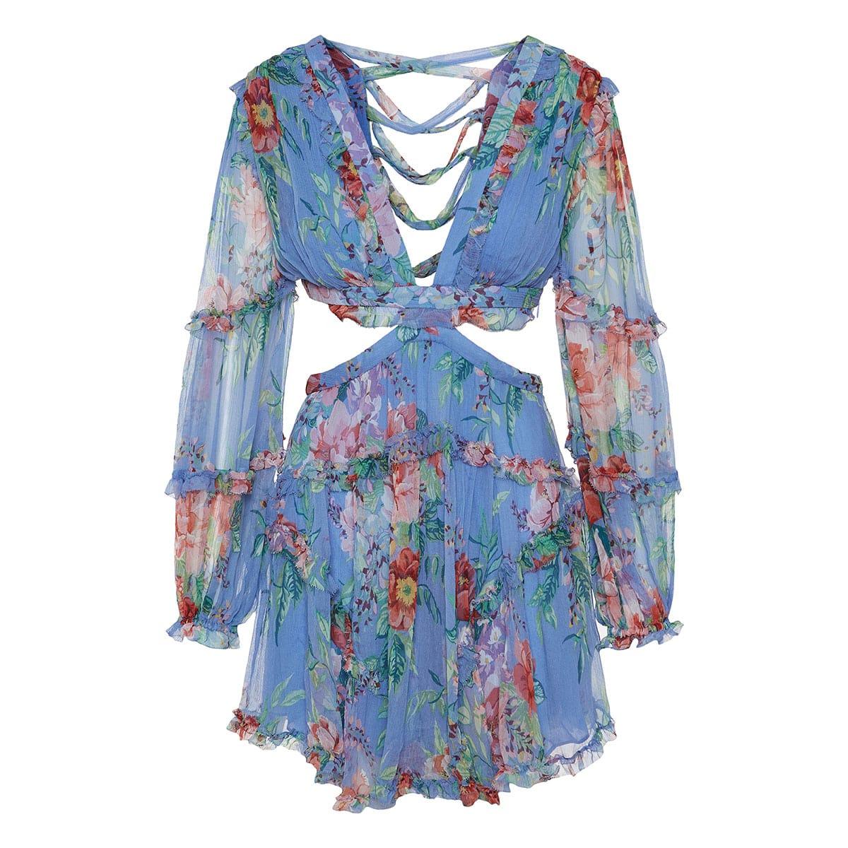 Bellitude cut-out floral chiffon mini dress