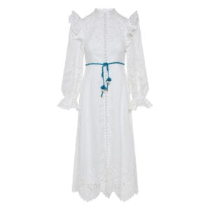 Carnaby broderie ruffled midi dress