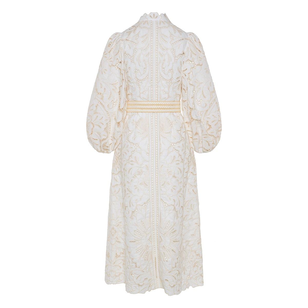 Empire Broderie midi dress