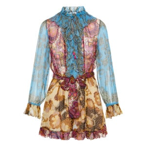 Spliced patchwork printed chiffon playsuit