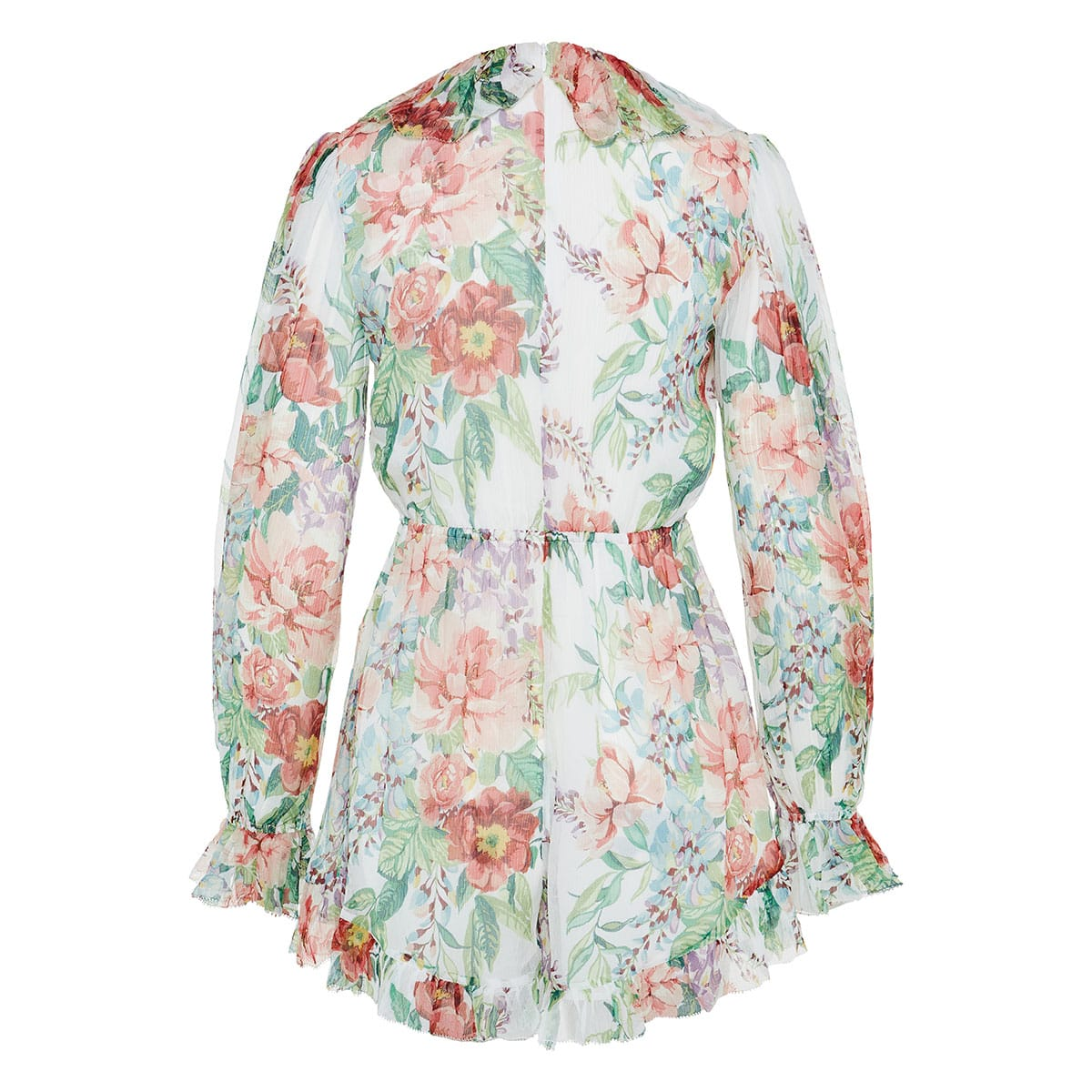 Ruffle-trimmed floral playsuit