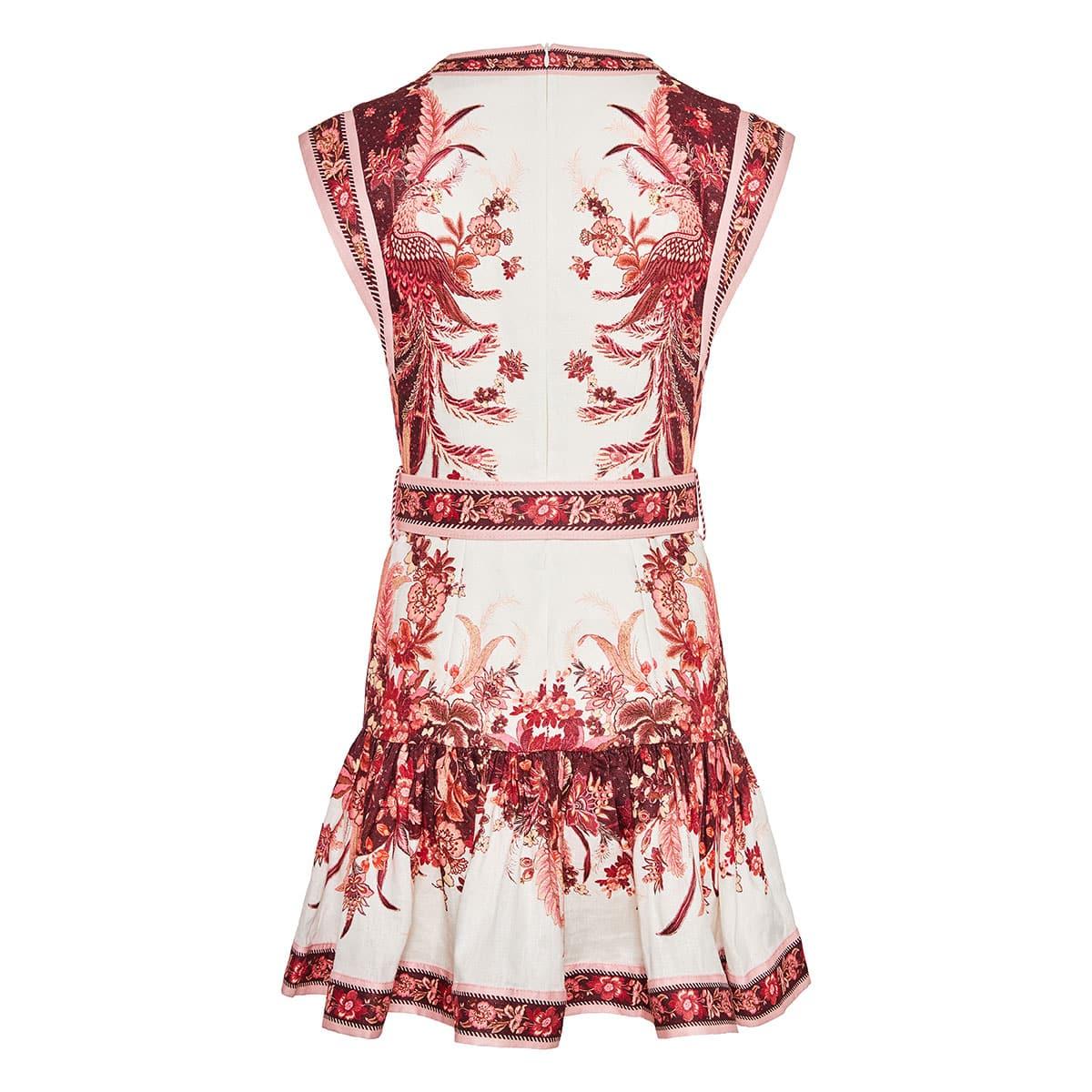 Wavelength printed fluted mini dress