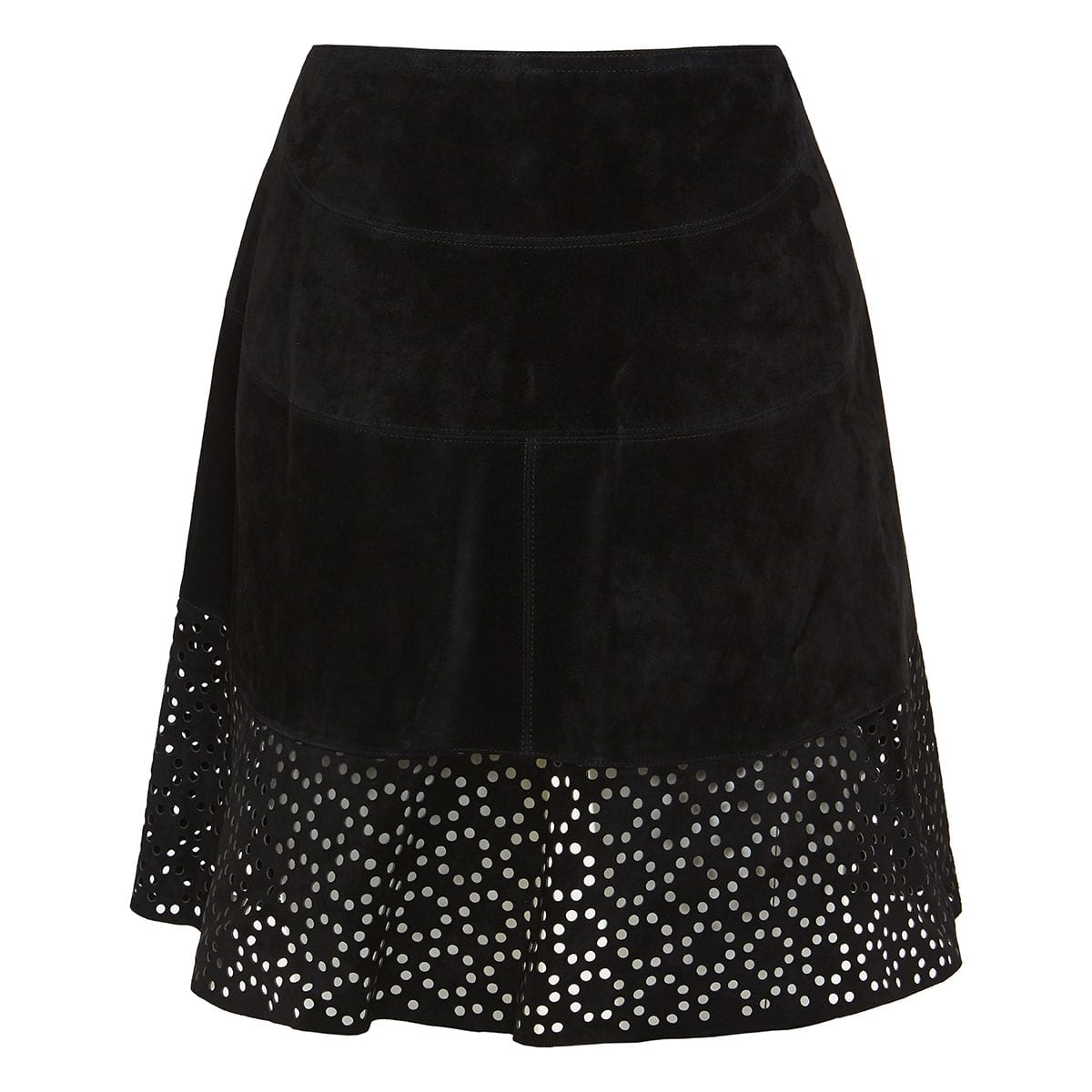 Laser-cut asymmetric suede skirt