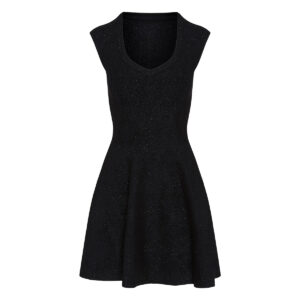Jacquard knitted metallic mini dress