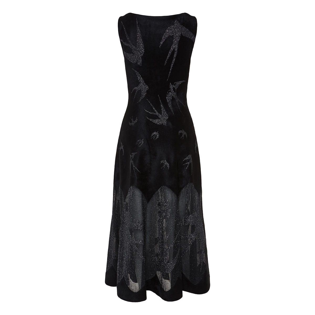 Lurex and velour pleated midi dress