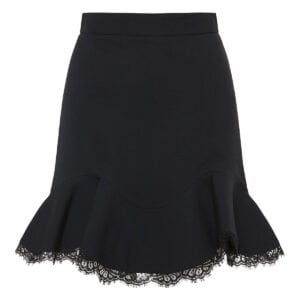 Lace-trimmed ruffled mini skirt