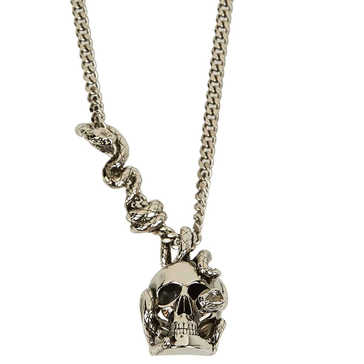 Snake and skull chain necklace