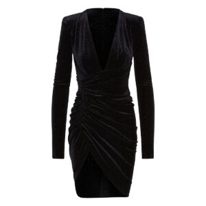 Glitter velvet ruched mini dress