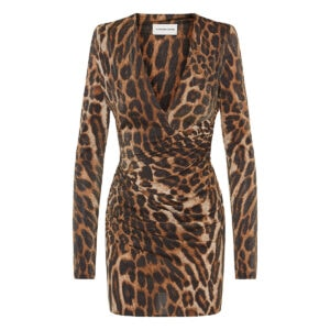 Leopard metallic ruched mini dress