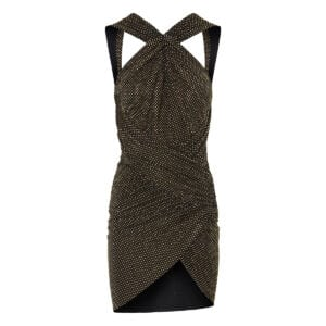 Crystal-embellished ruched mini dress