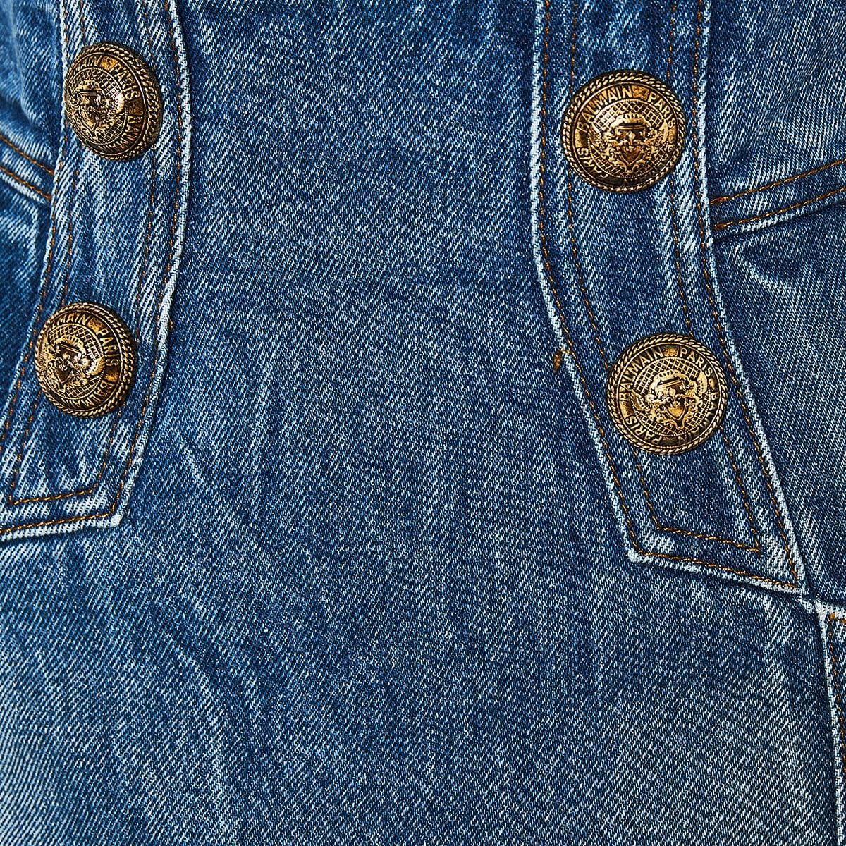 Button-embellished denim pencil skirt