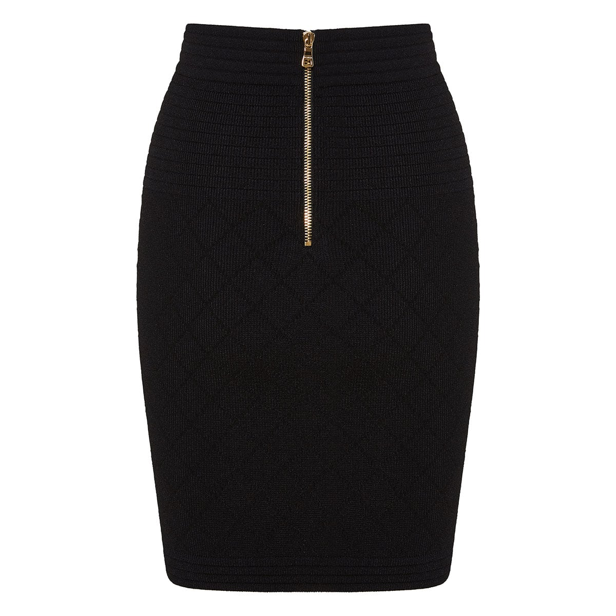 Button-embellished knitted mini skirt