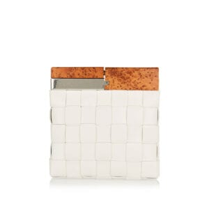 BV Snap wood and leather clutch