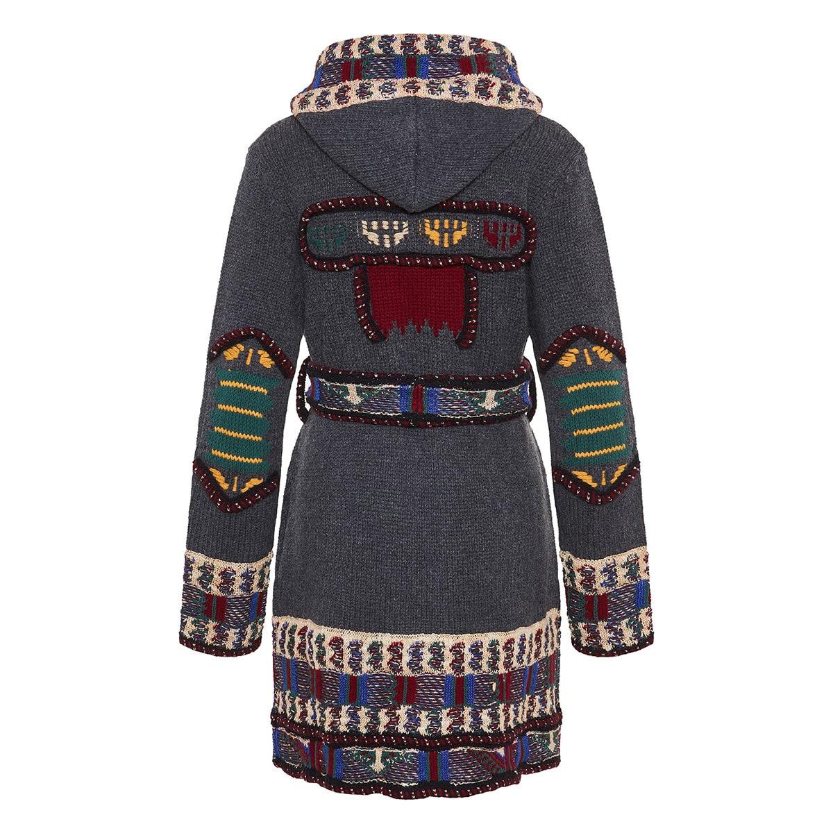 Jacquard hooded cardigan