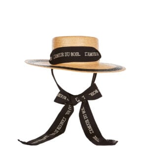 Straw-effect hat with ribbon