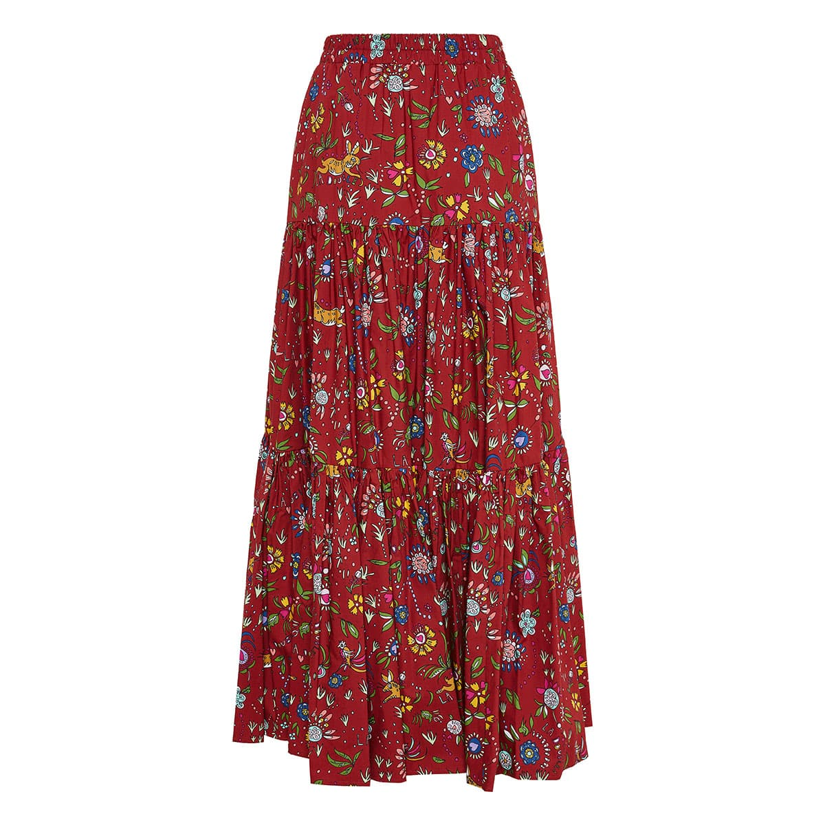 Big long printed tiered skirt