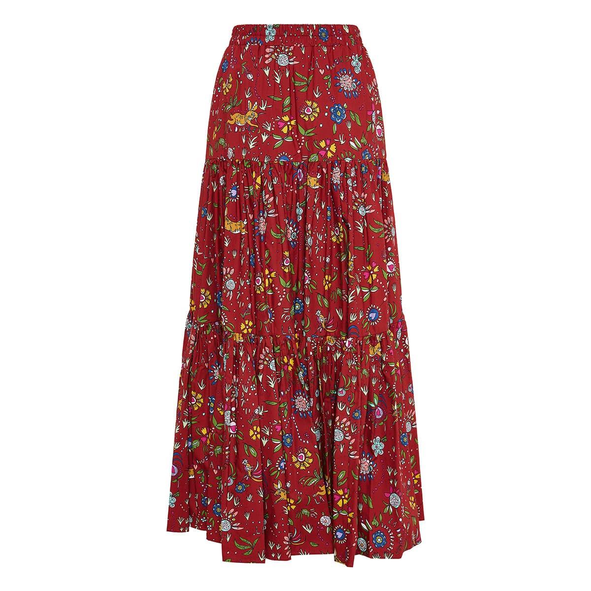 Big long printed tiered skirt