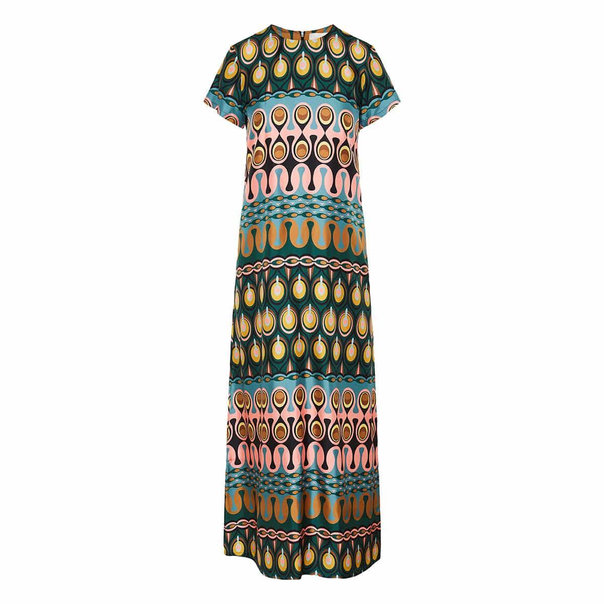 Swing long printed twill dress