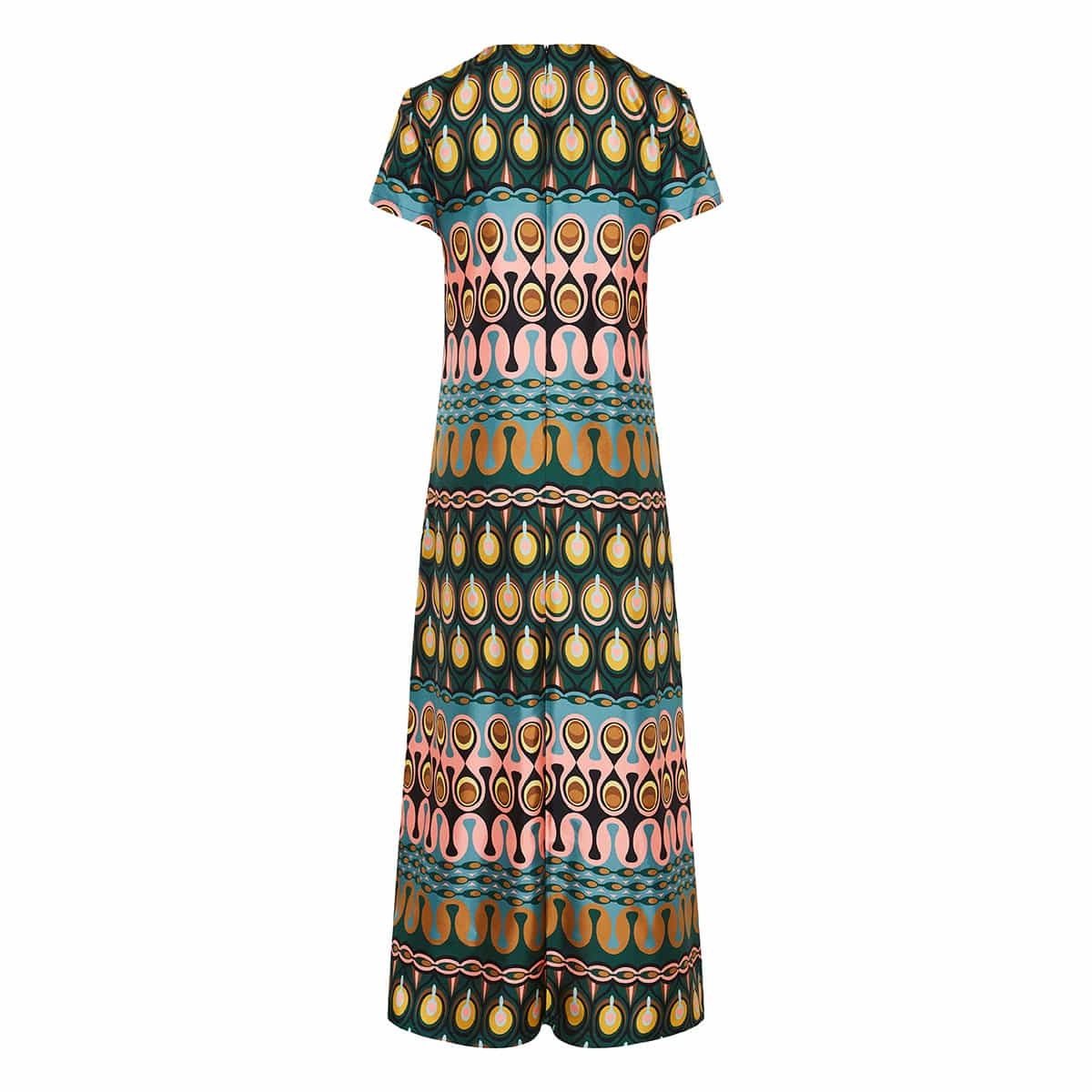 Swing long printed twill dress