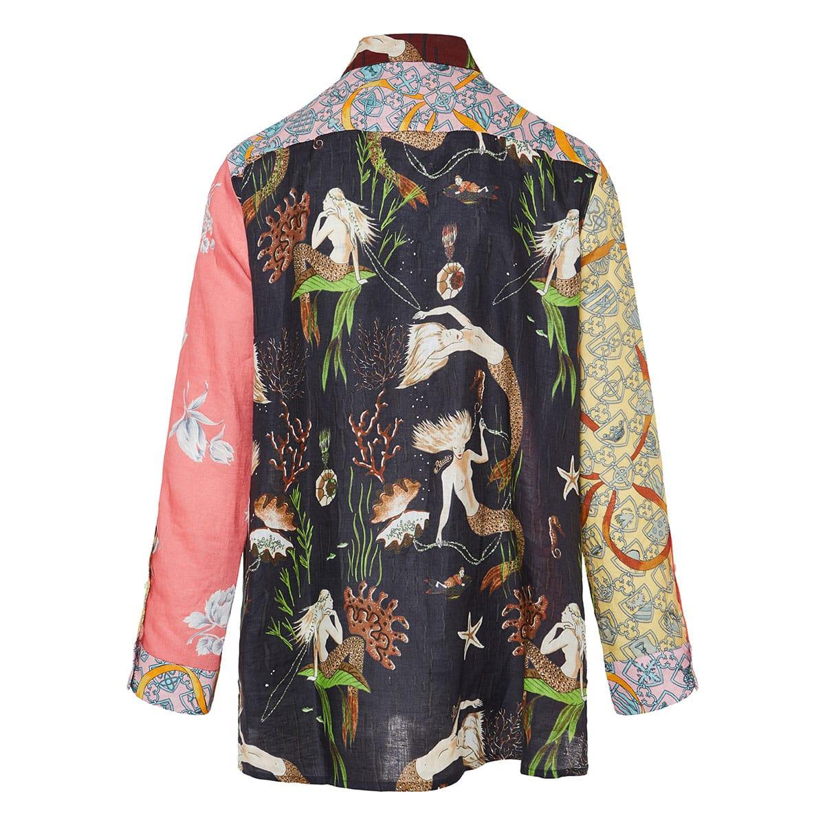 Patchwork printed linen shirt