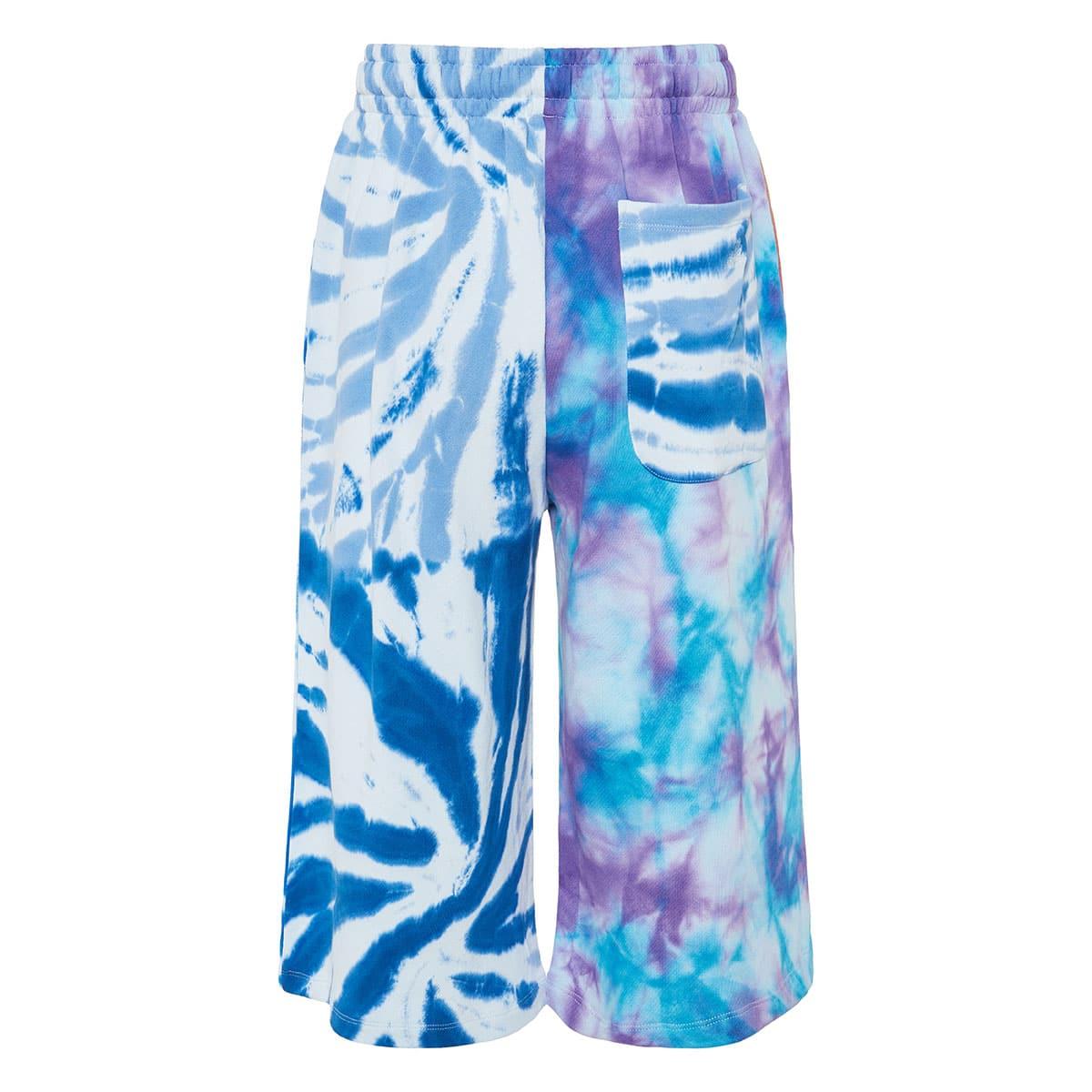 Tie-dye patchwork track shorts