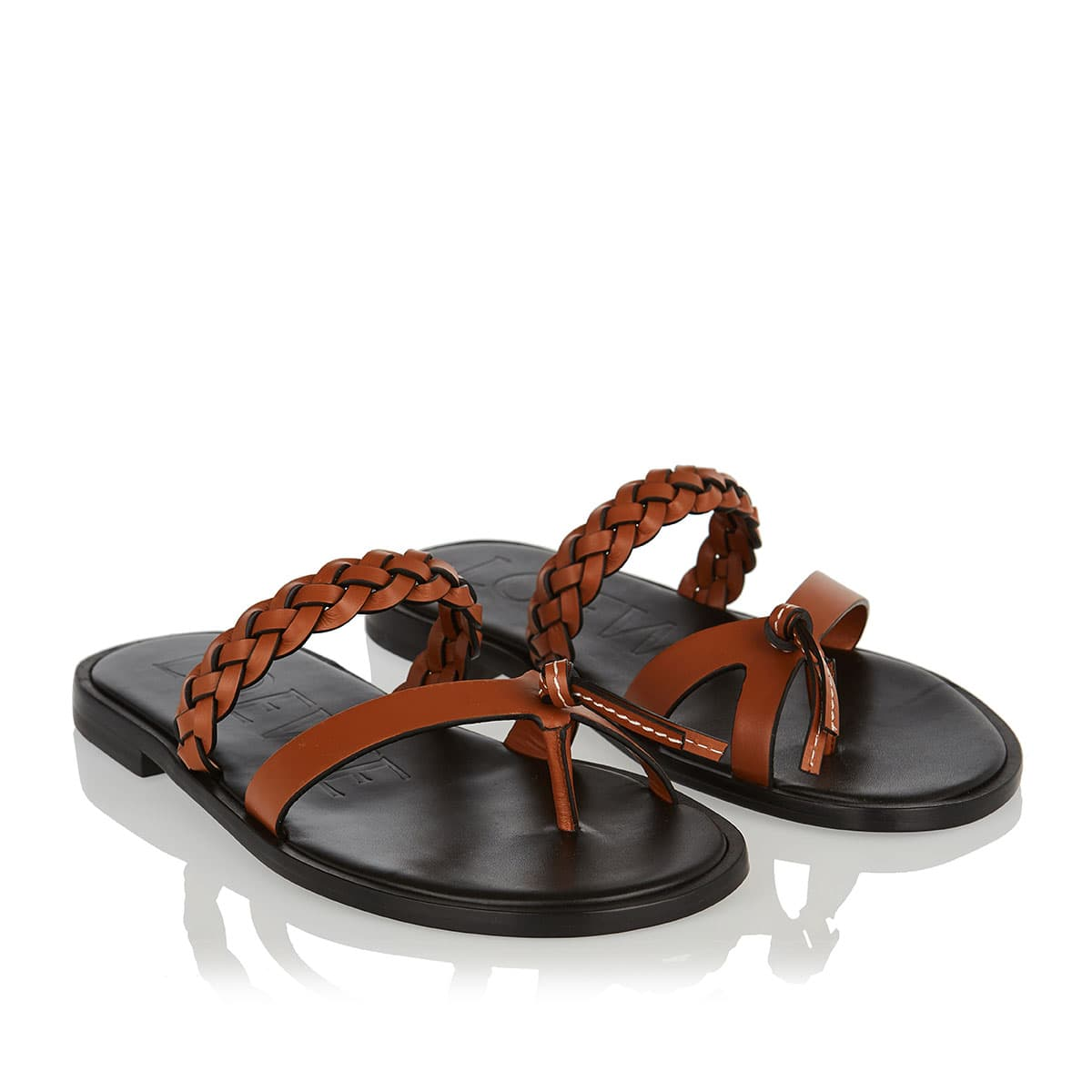 Braided flat leather sandals