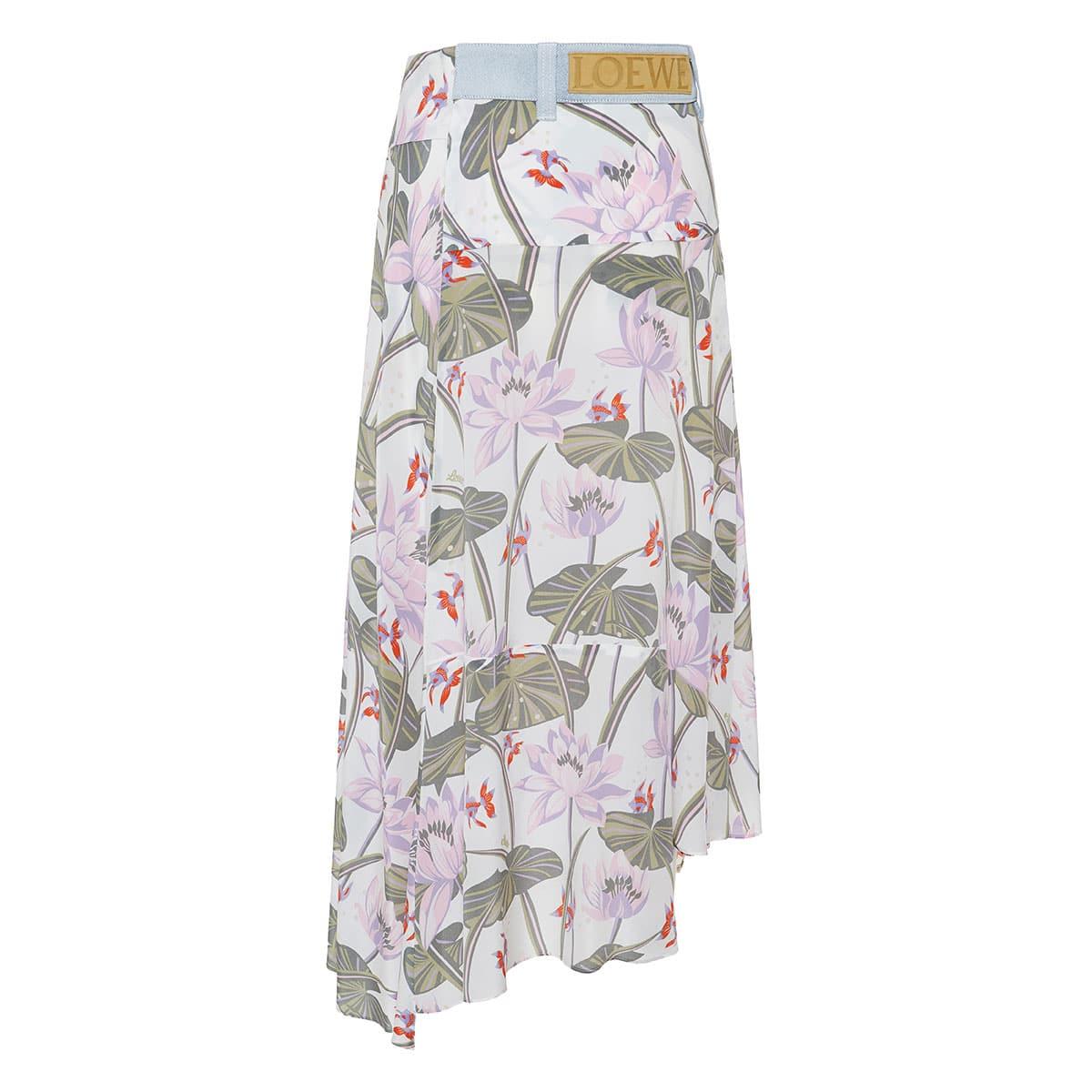 Asymmetric printed wrap skirt