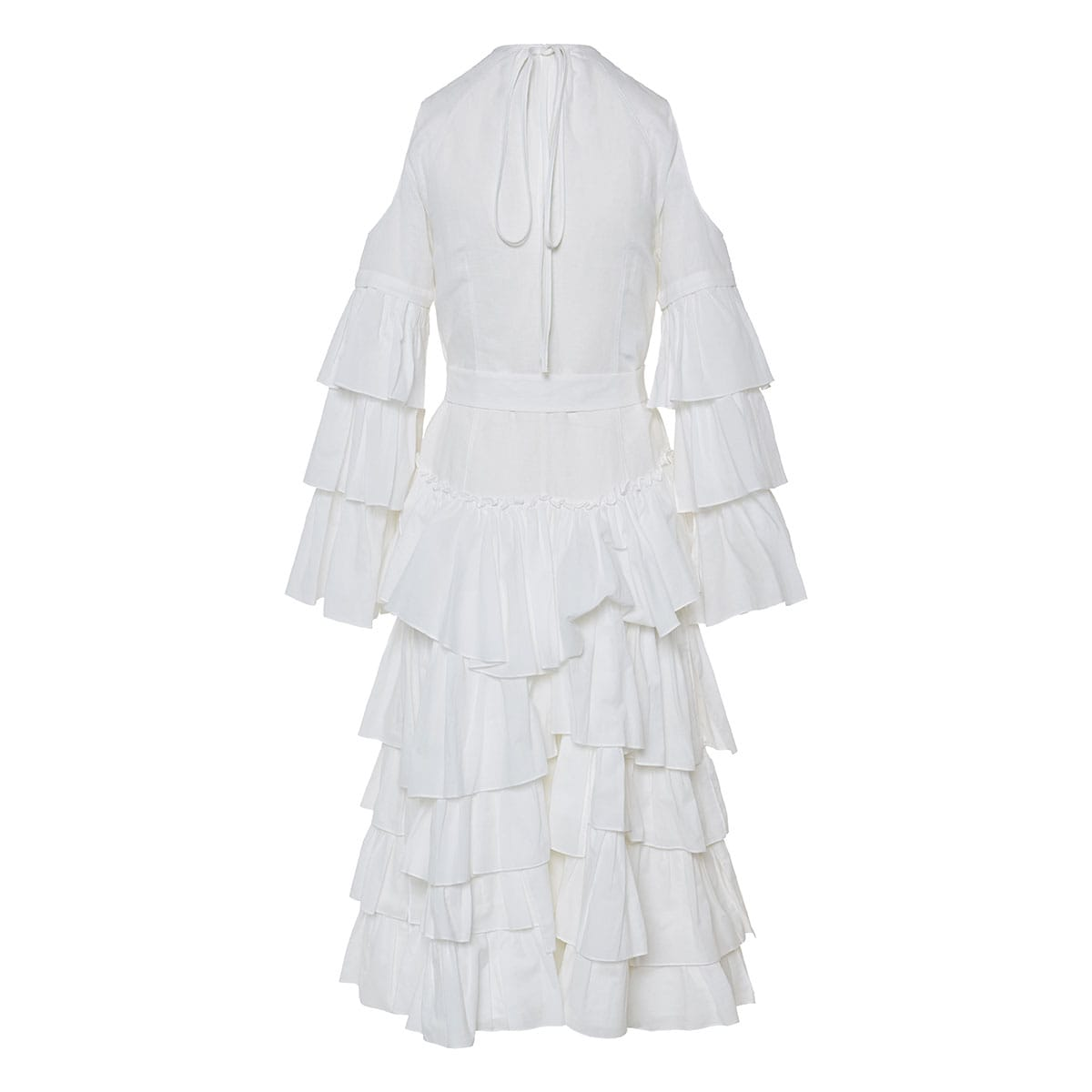 Long ruffled linen dress