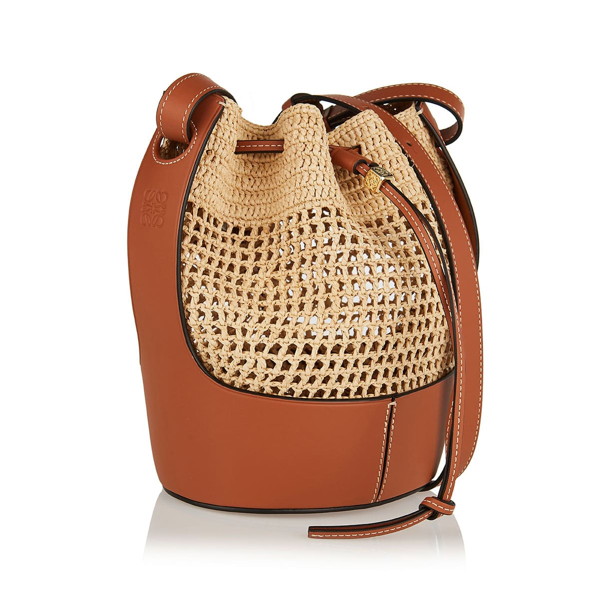 Small Balloon raffia and leather bag