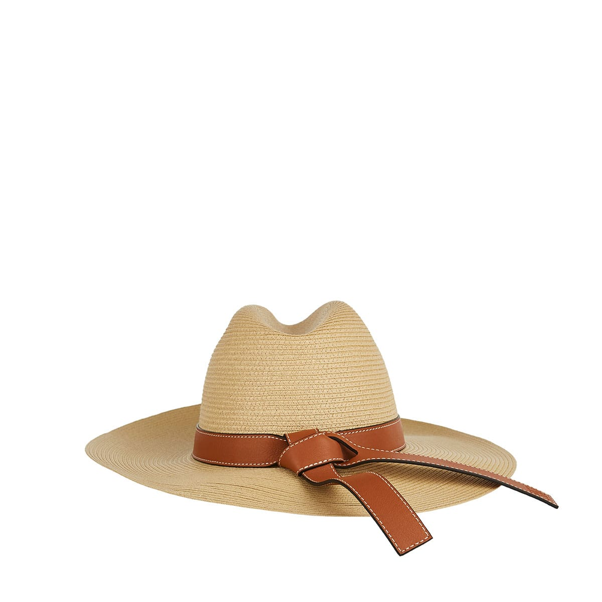 Leather-trimmed woven hat