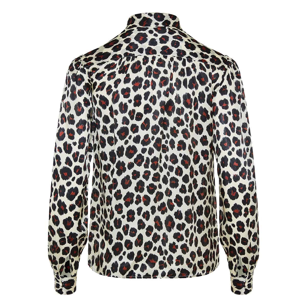 Bow-tie leopard blouse