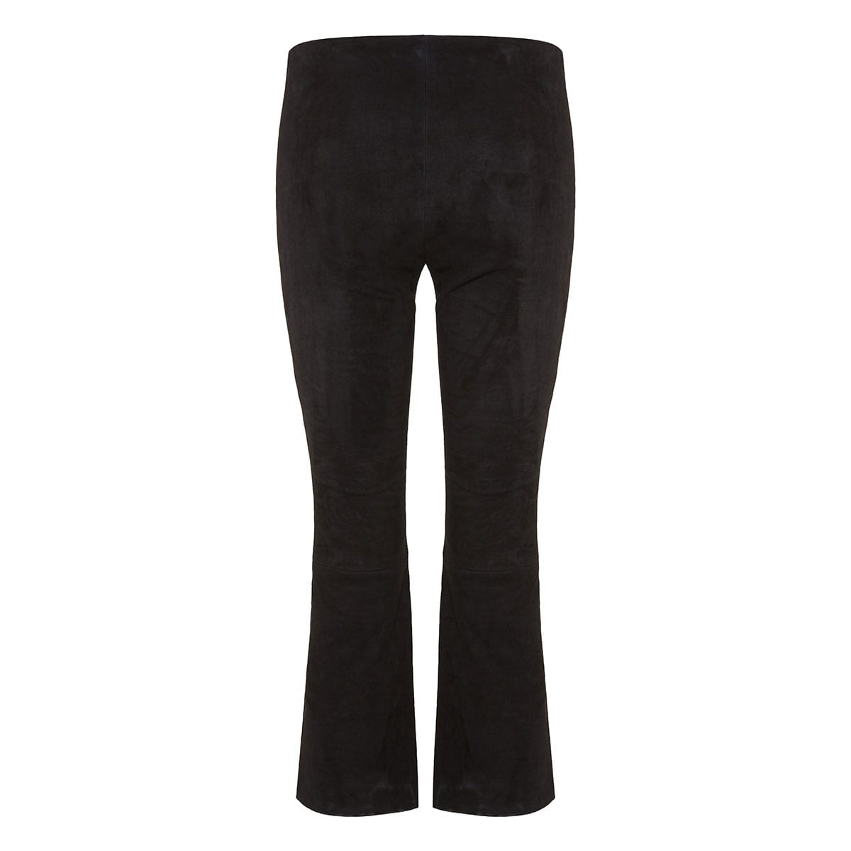 Cropped flared suede trousers