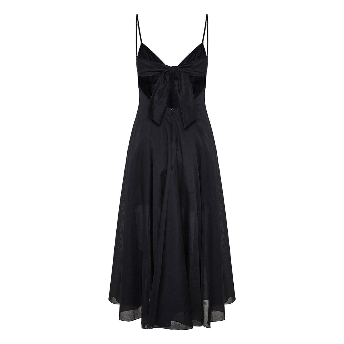 Carlota open-back long pleated dress