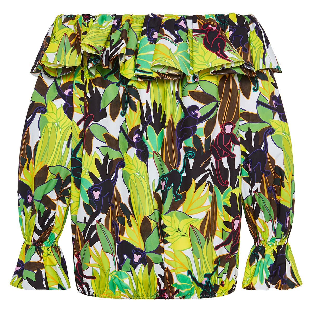 Panther in the Jungle off-the-shoulder blouse