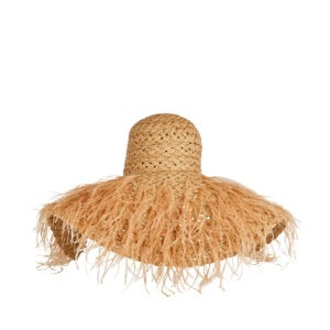 Feather-embellished straw hat
