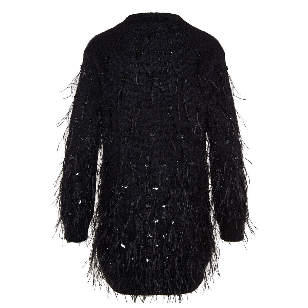 Feather-embellished oversized cardigan