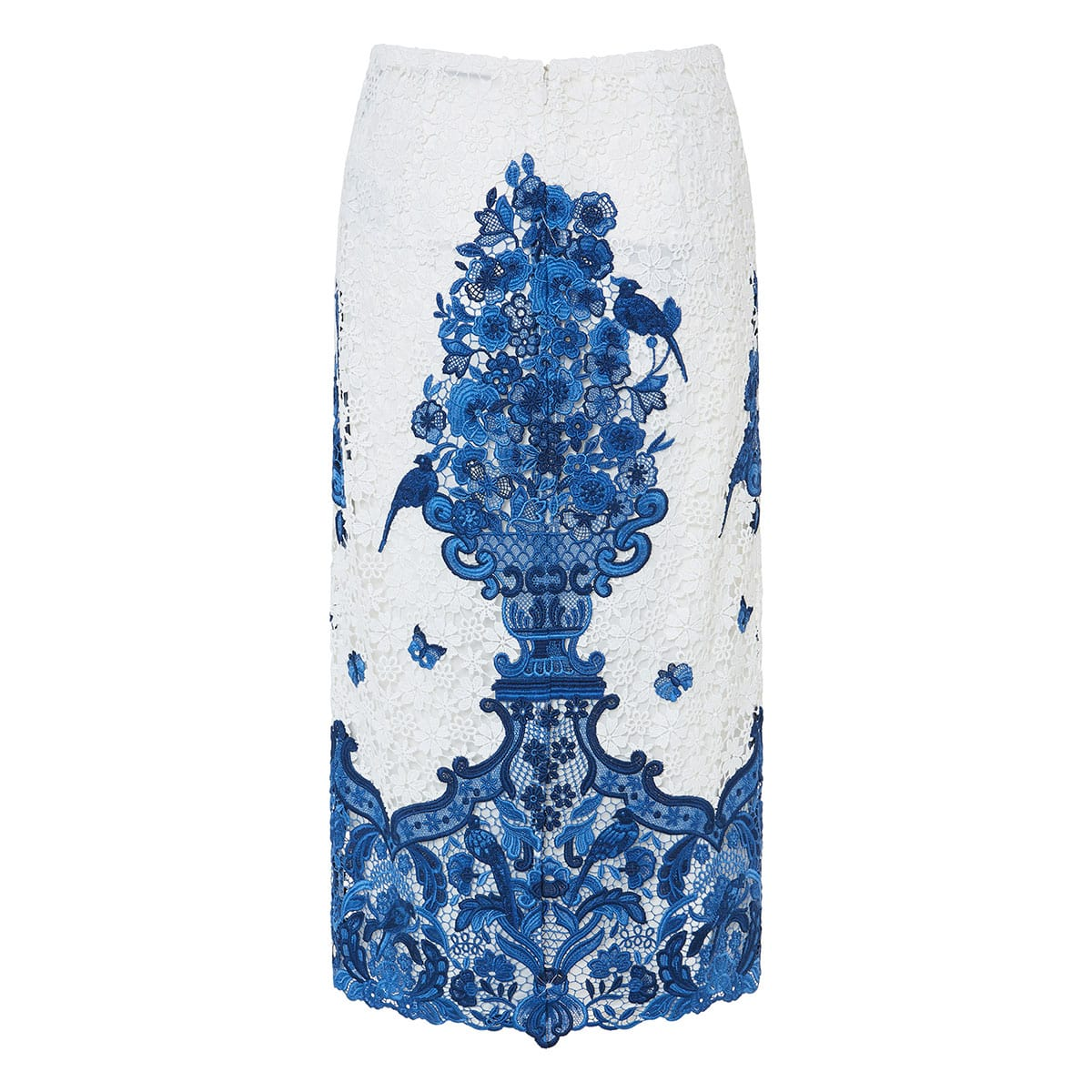 Embroidered lace midi skirt