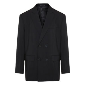 Double-breasted technical wool blazer