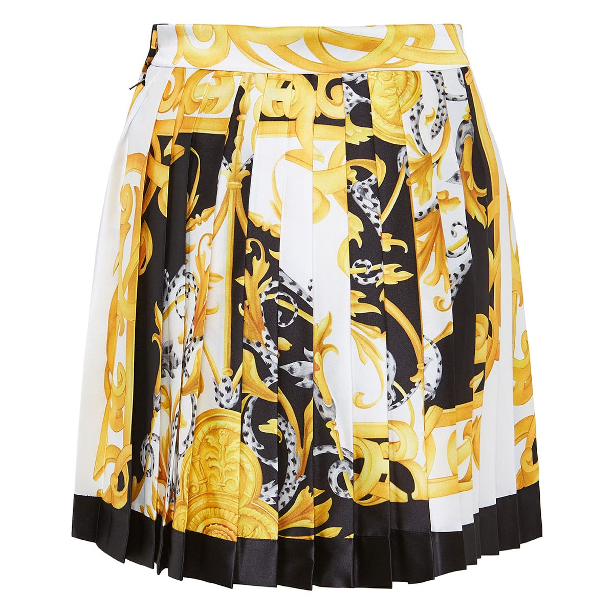 Baroque print pleated mini skirt