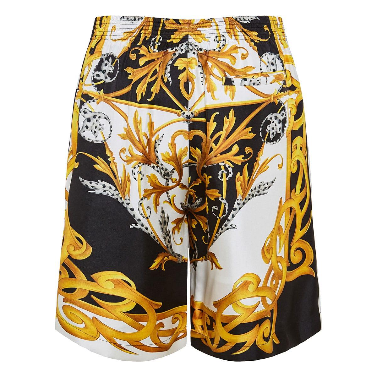 Baroque print long silk shorts