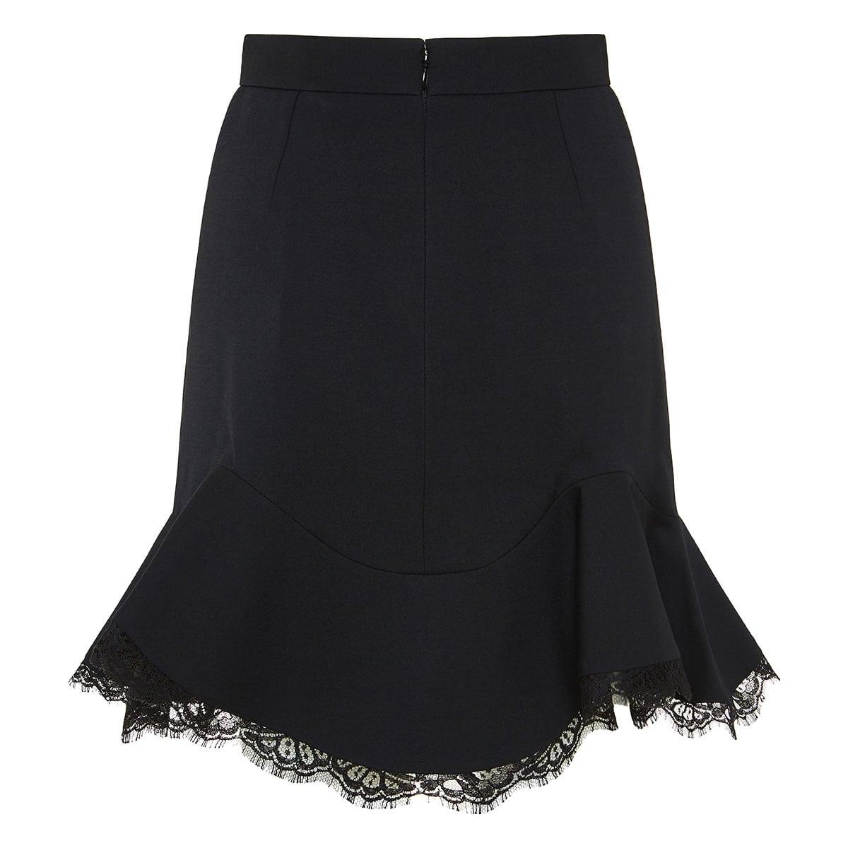 Lace-trimmed ruffled mini skirt