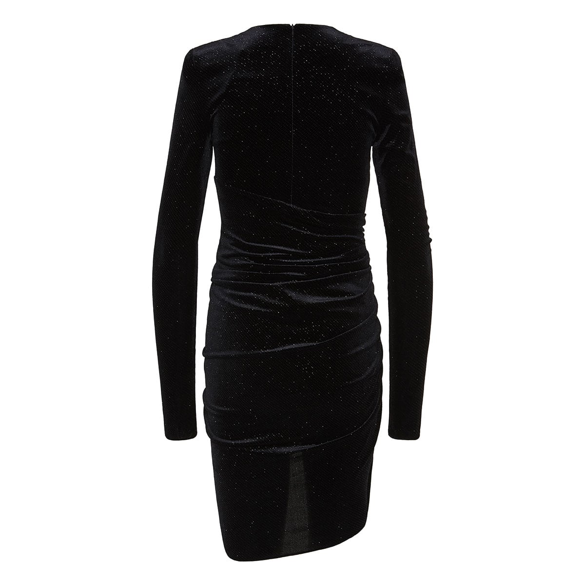 Glitter velvet ruched mini dress