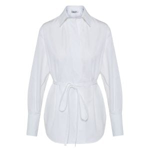 Poplin shirt with waist ties
